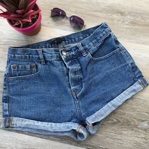 Forever 21 Jean Shorts Cuff Button Fly Mid-Rise